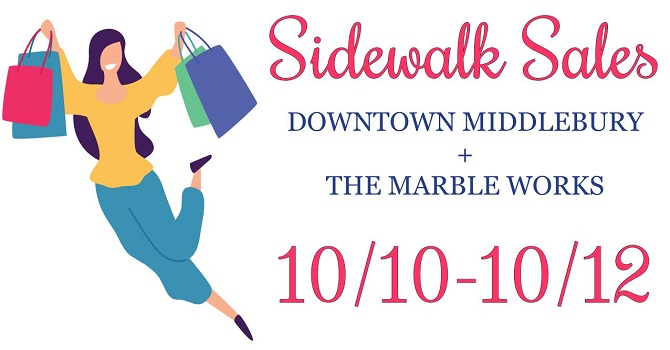 Sidewalk Sales Downtown Middlebury & The Marble Works graphic